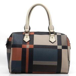 Handbags - Geometric Check Boston Bag